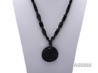 6x12mm black agate necklace with a big faceted agate pendant