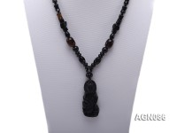 7.5x11mm black multishape agate necklace with a faceted pendant