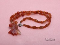 6x9mm orange round and drip-shaped agate necklace