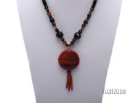 8mm black and red round agate necklace with a red agate pendant