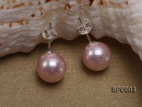 10mm light pink round seashell pearl earrings in 925 sterling silver