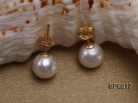 8mm white round the south seashell pearl earring with 18k GP pins