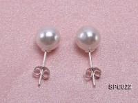 8mm white round seashell pearl earrings in 925 sterling silver