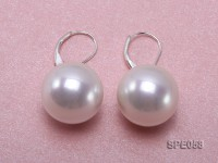 16mm white round seashell pearl leverback earrings in sterling silver