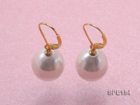 12x15mm white teardrop seashell pearl leverback earrings