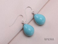 12x16mm turquoise-blue teardrop seashell pearl earrings