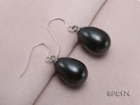 12x16mm mysterious black teardrop seashell pearl earrings