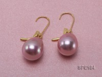 11x15mm shiny pink teardrop seashell pearl earrings