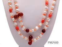 12-13mm natural white baroque freshwater pearl with pink coral opera necklace