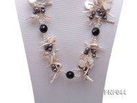 Three-strand Freshwater Pearl, White Seashell Pieces and Black Agate Beads Necklace