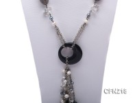 8-9mm Freshwater Pearl and Amethyst with Agate Pendant Long Necklace
