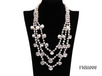 3 strand white freshwater and seashell necklace