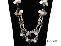 3.5x5mm white oval freshwater pearl and drop-shaped shell and fluorite necklace