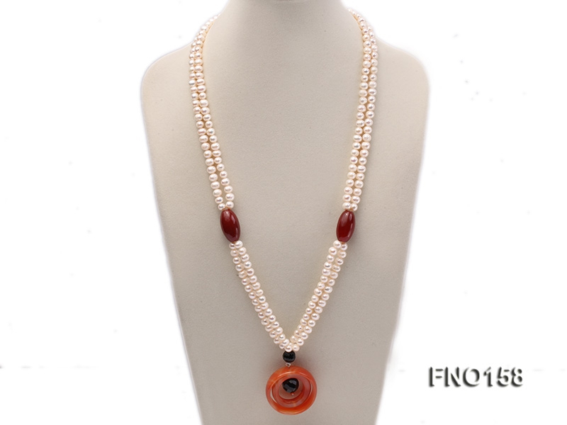 7-8mm white oval freshwater pearl and red agate necklace