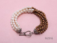 5 strand white and coffee freshwater pearl bracelet