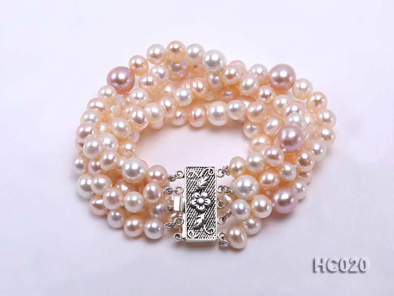 5 strand 7-10mm white and pink freshwater pearl bracelet