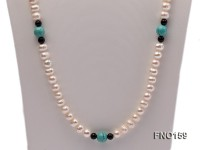 9-10mm white round freshwater pearl and black agate and blue turquoise necklace