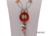 8-9mm white freshwater pearl and white irregular crystal and red agate with chain necklace