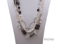 7-8mm white round freshwater pearl and black round faceted agate and stone with chain necklace
