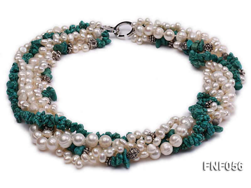 Five-strand 8-9mm Freshwater Pearl and Turquoise Chips Necklace