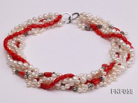 Five-strand 8-9mm Freshwater Pearl and Red Coral Beads Necklace