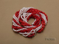Multi-strand White Freshwater Pearl and Red Coral Pillars Necklace
