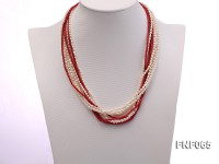 Multi-strand 3.5×4.5mm Freshwater Pearl and Red Coral Pillar Necklace