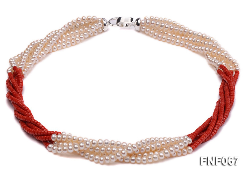 Five-strand 5-6mm Freshwater Pearl and Red Coral Beads Necklace