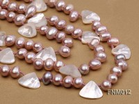 3 strand lavender freshwater pearl and seashell necklace with sterling sliver clasp