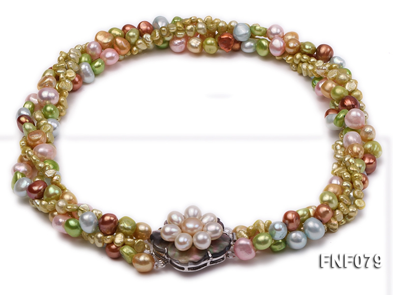 Four-strand 6-10mm Multi-color Freshwater Pearl Necklace