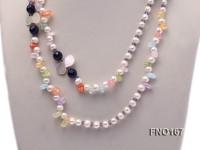 8-9mm white baroque freshwater pearl and yellow crystal and black agate necklace