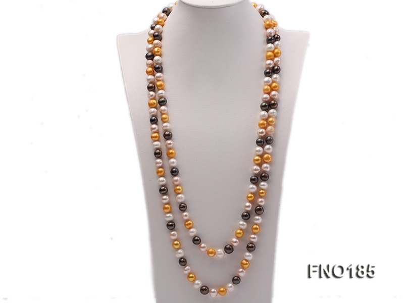 10-11mm multi-color round pearls necklace