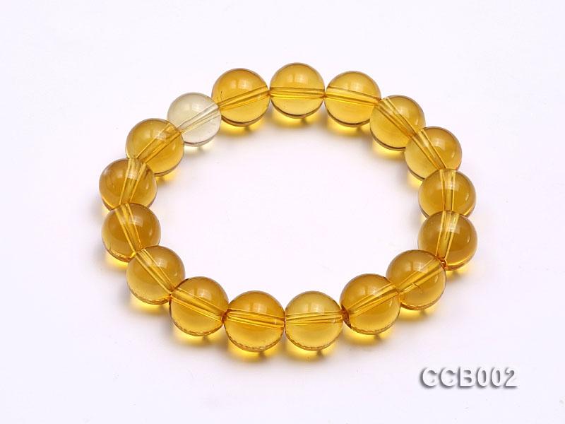 10mm Round Citrine Beads Elastic Bracelet