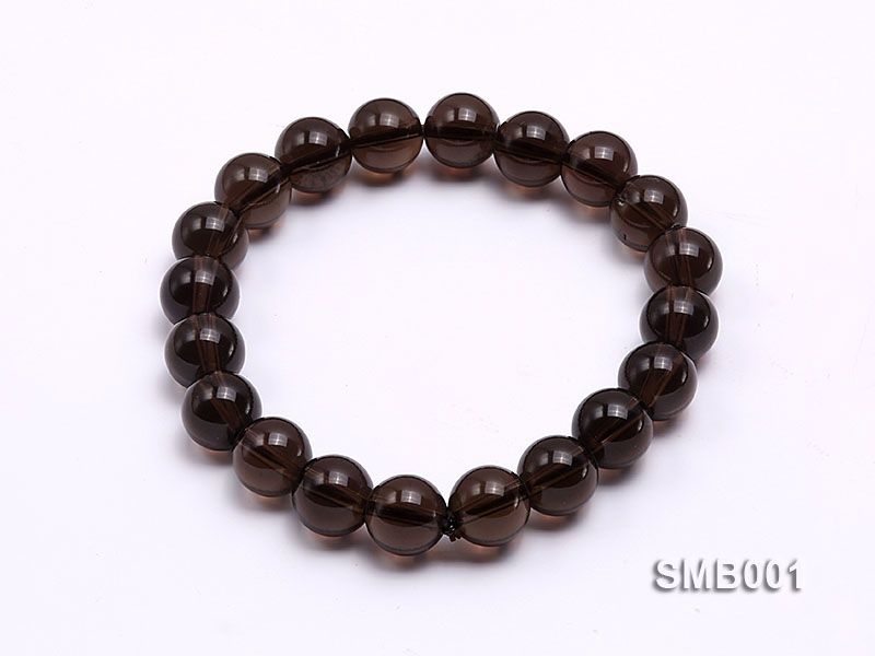 10mm Round Smoky Quartz Elastic Bracelet