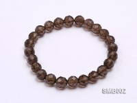 8mm Round Faceted Smoky Quartz Elastic Bracelet