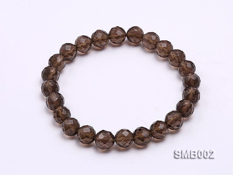 8mm Round Faceted Smoky Quartz Elastic Bracelet