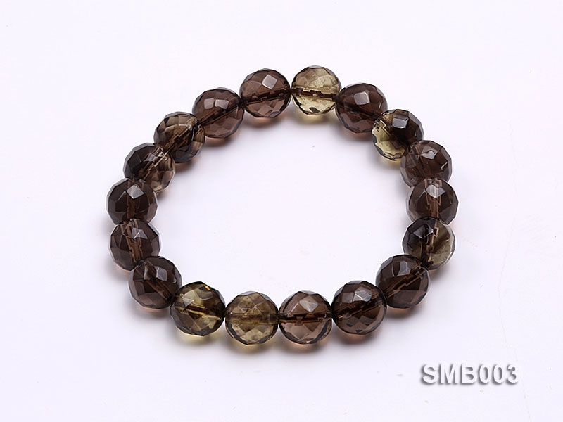 10mm Round Faceted Smoky Quartz Elastic Bracelet