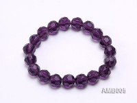 10mm Round Faceted Amethyst Beads Elastic Bracelet