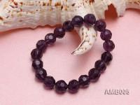 10mm Round Faceted Amethyst Beads Elastic Bracelet