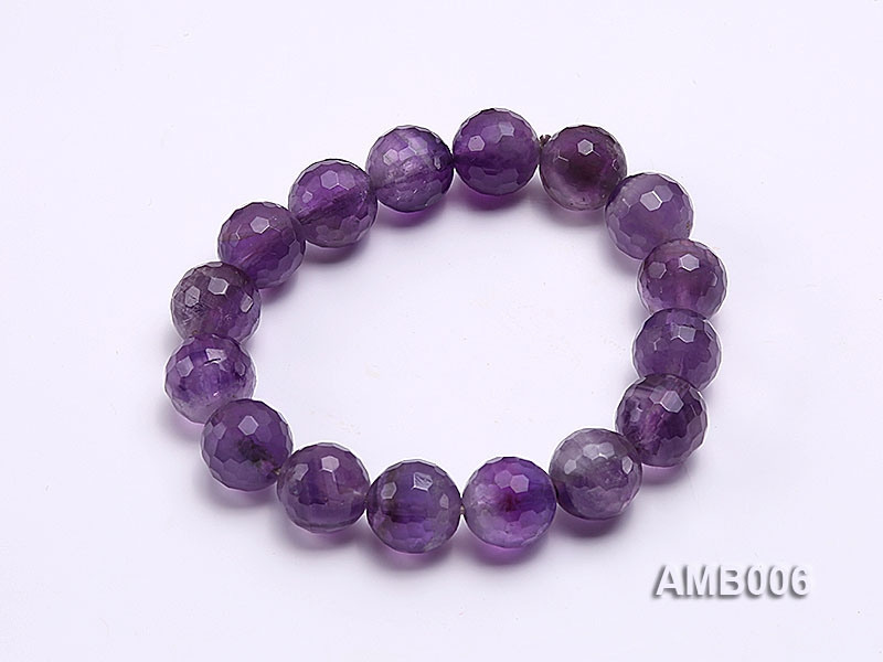 12mm Round Faceted Amethyst Beads Elastic Bracelet