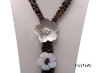 5-10mm colorful chips tourmaline and flower shape shell necklace