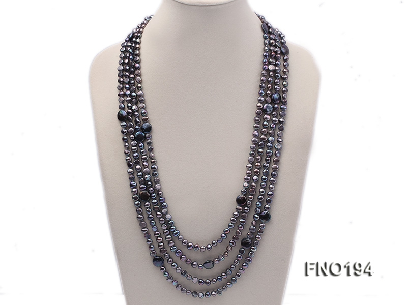 8-9mm black flat freshwater pearl and coin pearl multi-strand necklace
