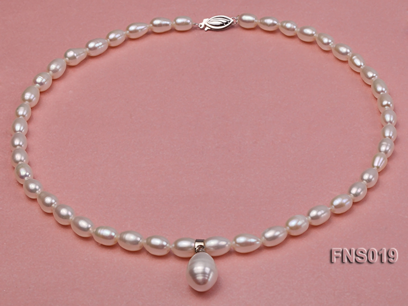 natural 6-8mm white rice freshwater pearl necklace with pearl pendant
