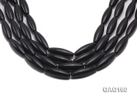wholesale 10x30mm oval black agate strings
