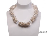 5-9mm White Cultured Freshwater Pearl Necklace with White Crystal Beads