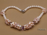 Natural White and Pink Freshwater Pearl with Rose Quartz Crystal Necklace