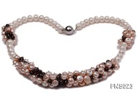 7-9.5mm natural white and pink freshwater pearl with natural garnet necklace