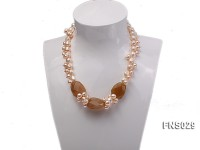 Natural 9-12mm Freshwater Pearl with Faceted Agate Necklace