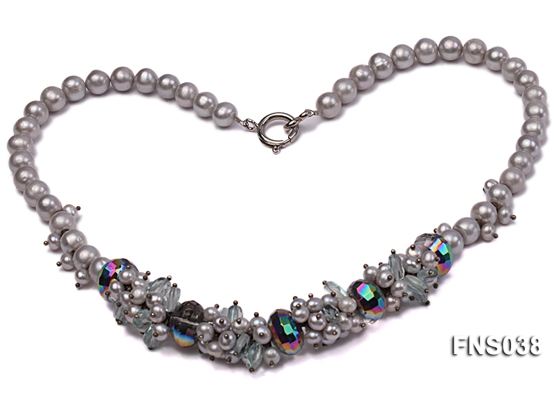 8-9mm grey round freshwater pearl with crystal necklace