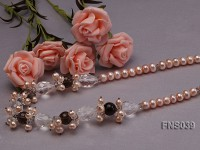 natural 8-9mm pink freshwater pearl with smoky quartz and crystal necklace
